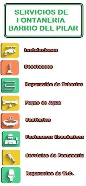 servicios de fontaneria en Barrio del Pilar