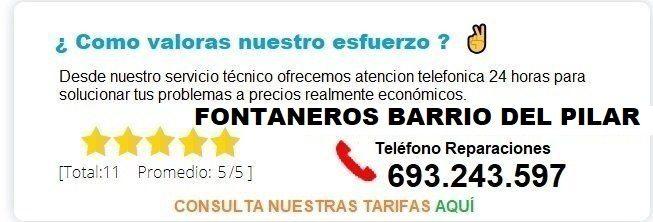 Fontanero Barrio del Pilar precio